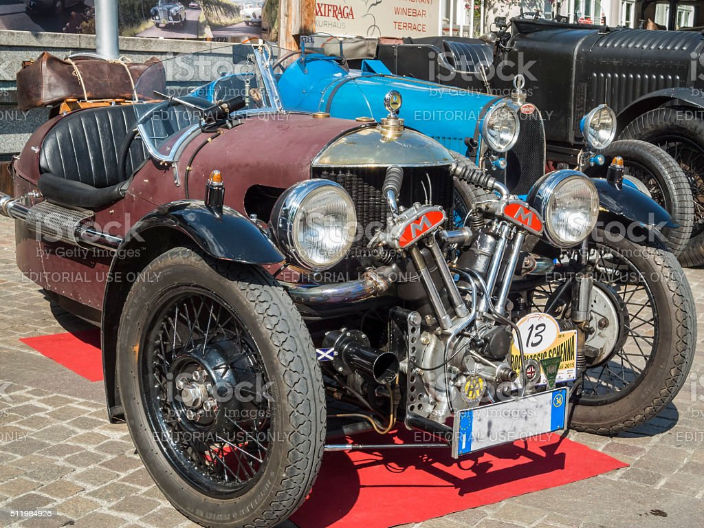 south tyrol classic cars_2015_Morgan three wheeler_front totale stock photo