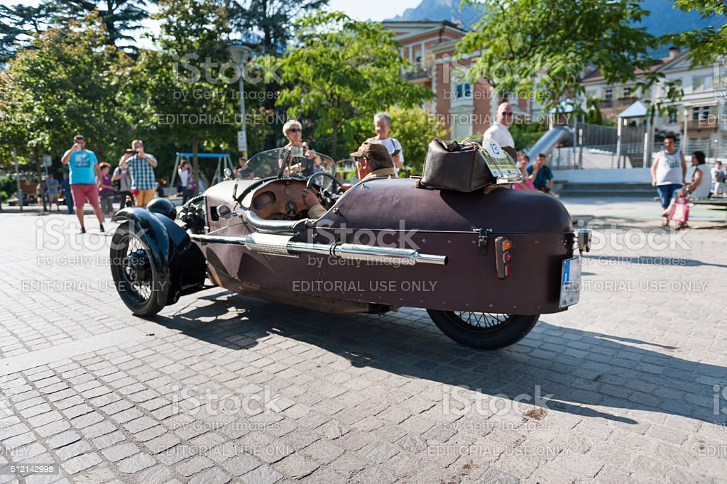 south tyrol classic cars_2015_Morgan three wheeler_sideview stock photo