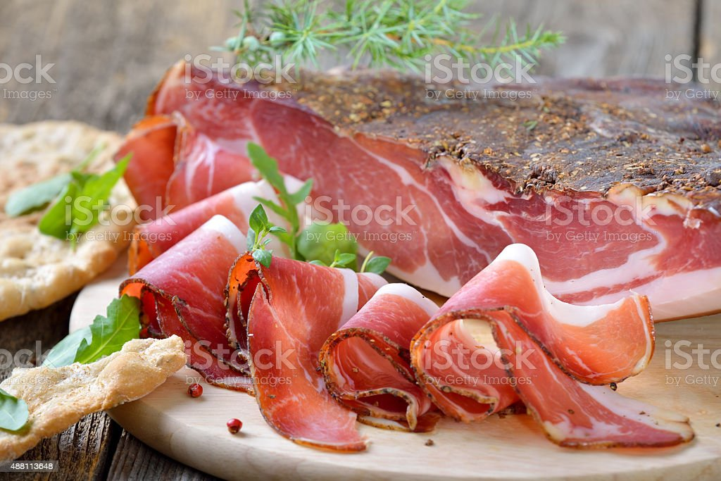 South Tyrolean bacon stock photo