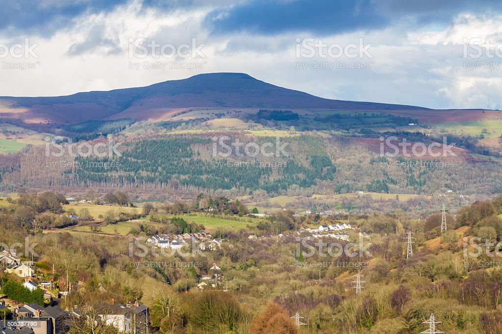 South Wales view towards the Sugar Loaf hill. Monmouthshire. stock photo