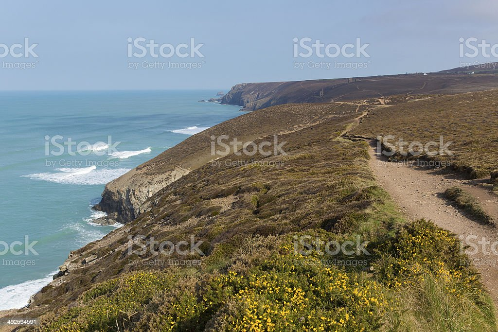 South West Coast Path near Porthtowan and St Agnes Cornwall stock photo