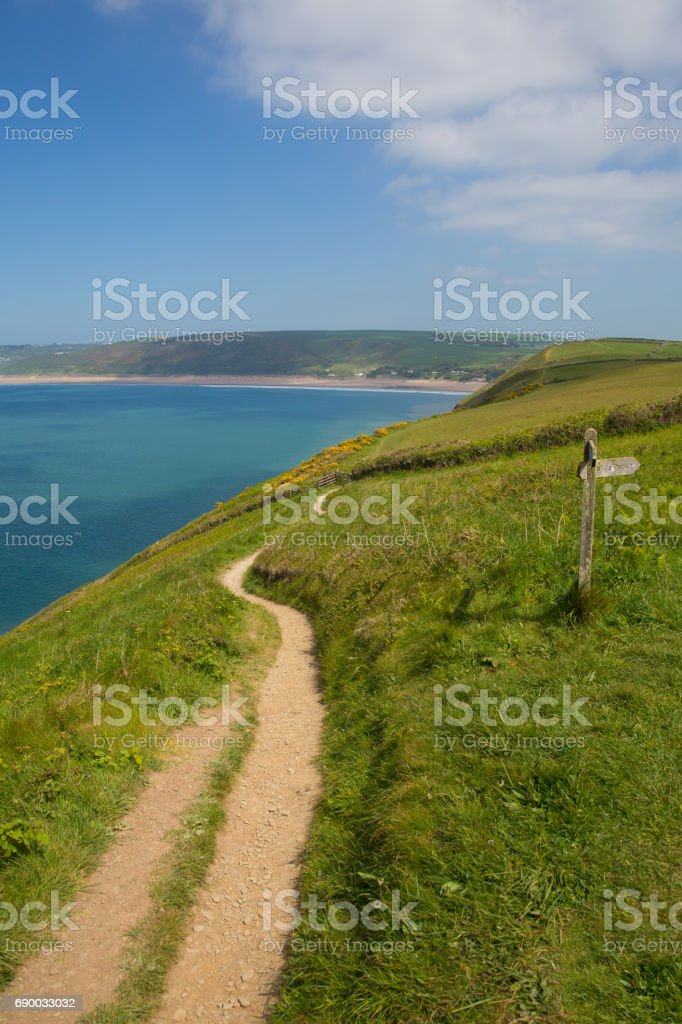 South west coast path to Woolacome Devon England UK in summer stock photo