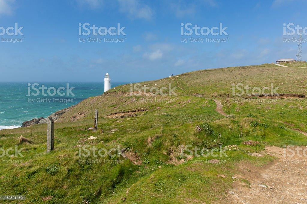 South West Coast path Trevose Head Lighthouse North Cornwall uk stock photo