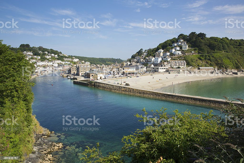 South West Coast Path view towards Looe harbour Cornwall stock photo