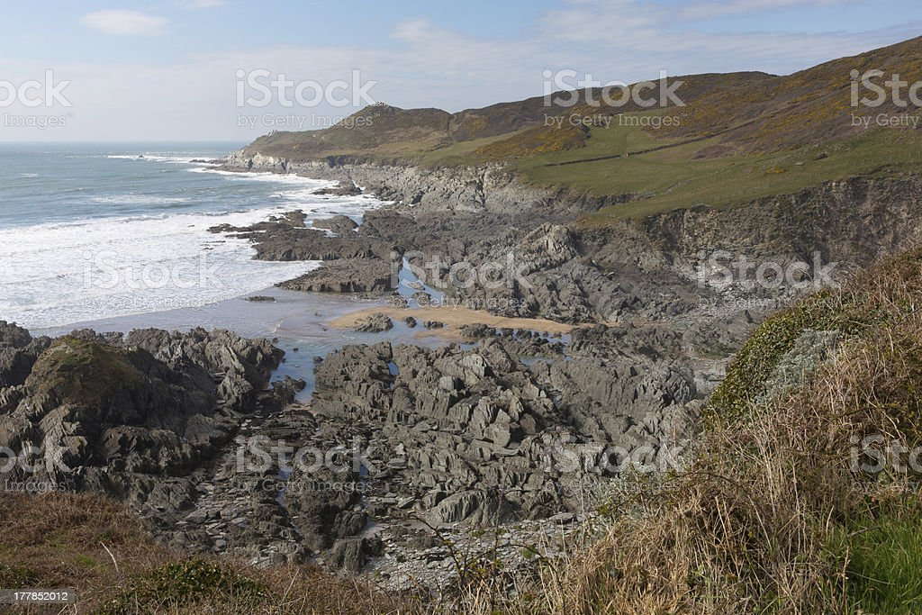 South West Coast Path view Woolacombe North Devon England royalty-free stock photo