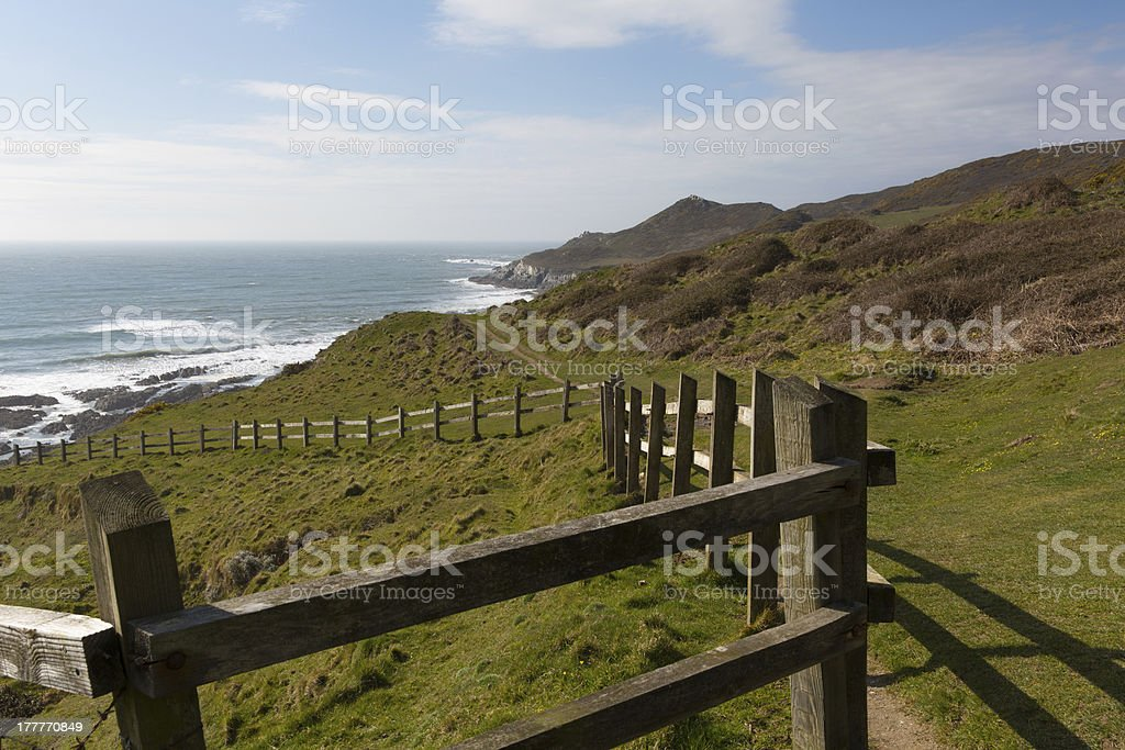 South West Coast Path Woolacombe Devon England towards Morte Point royalty-free stock photo