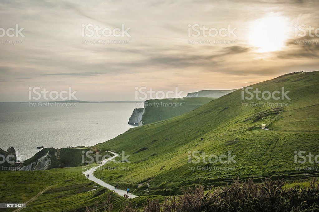 South West Coastal path of the Jurassic Coast, Dorset, England royalty-free stock photo