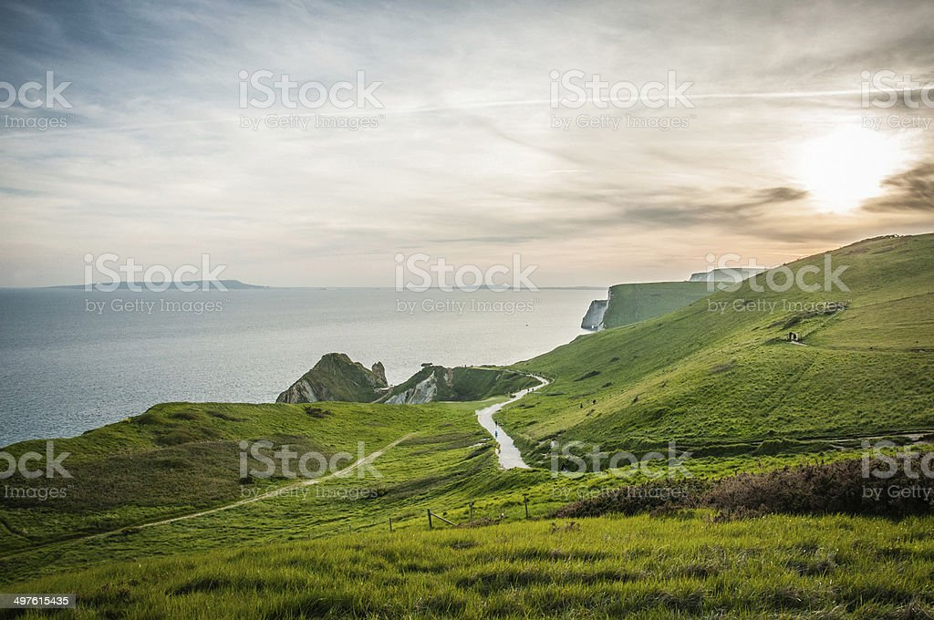 South West Coastal path of the Jurassic Coast, Dorset, England royalty-free stock photo