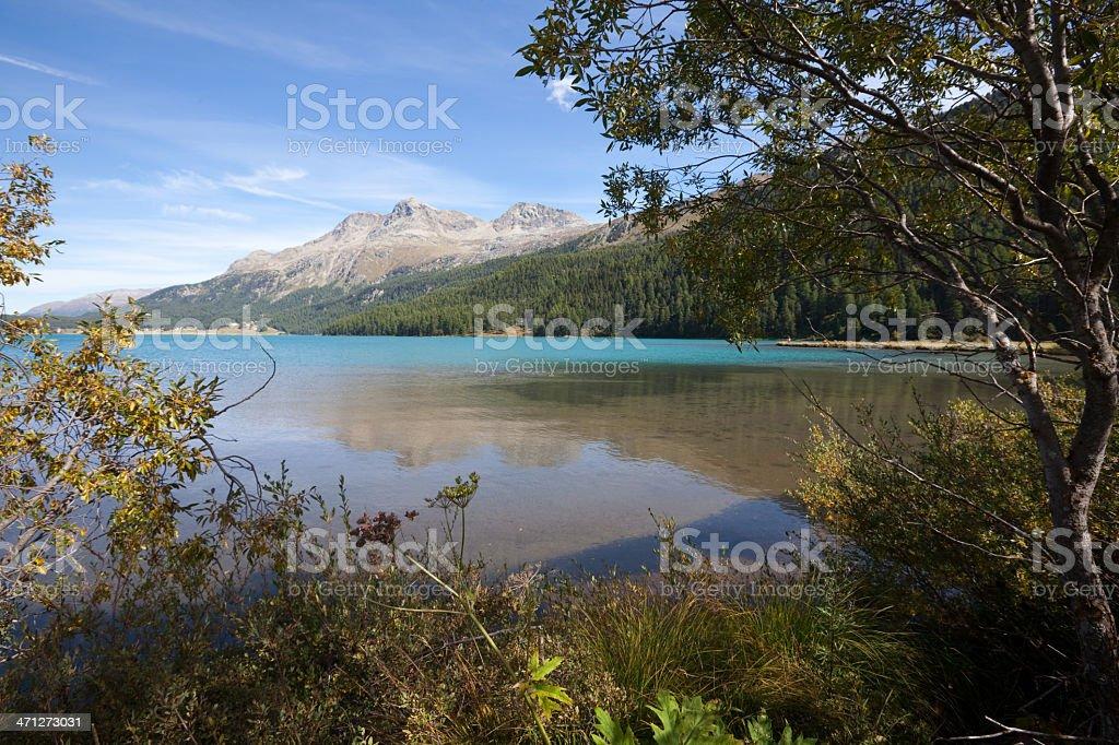 South West End of Lake Silvaplana, Engadine, Switzerland royalty-free stock photo