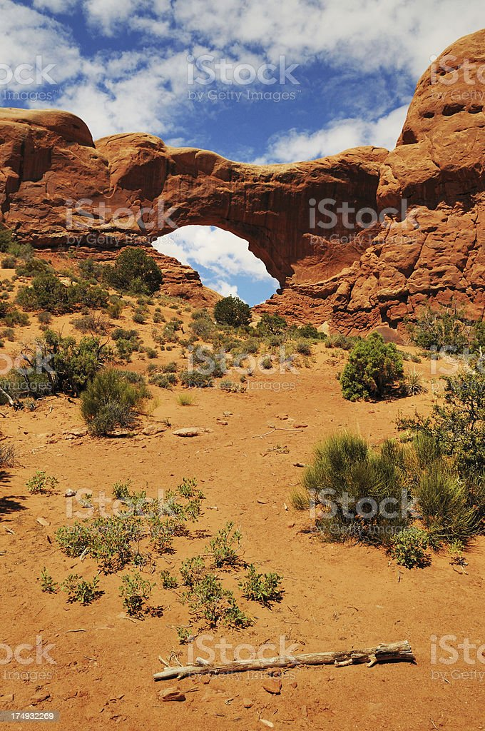 South Window Arch Rock Formation Arches National Park Moab Utah stock photo