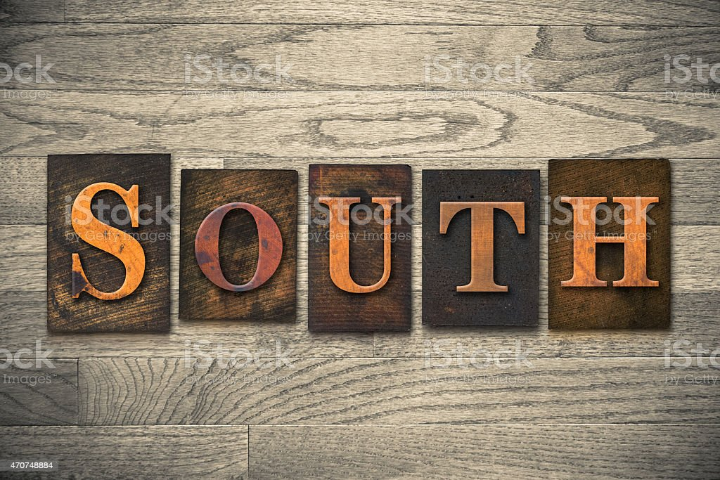South Wooden Letterpress Theme stock photo