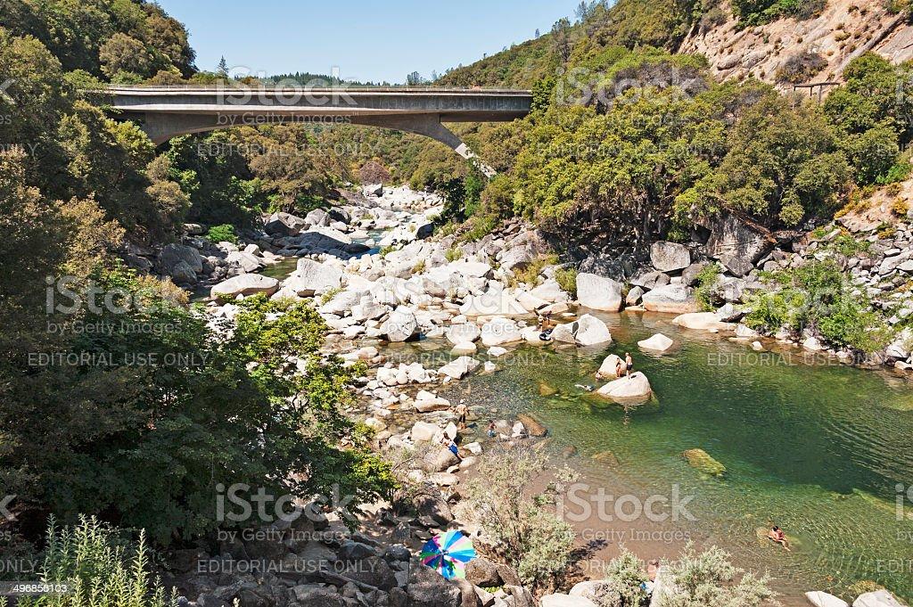 South Yuba River and Bridge stock photo