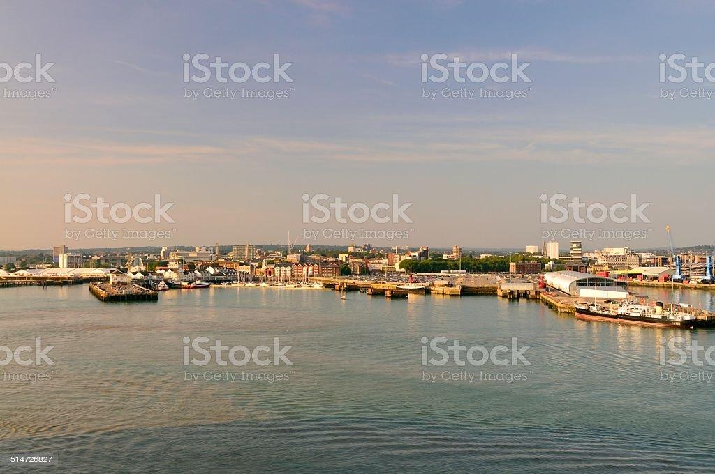 Southampton Sunset Sailaway stock photo