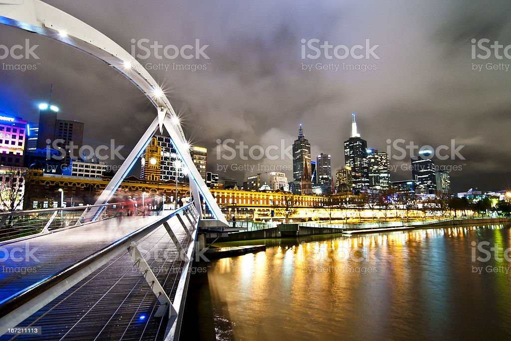 Southbank Pedestrian Bridge, Melbourne in the night royalty-free stock photo