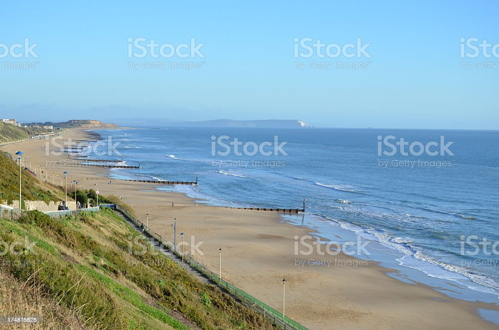 Southbourne Beach & Isle of Wight stock photo