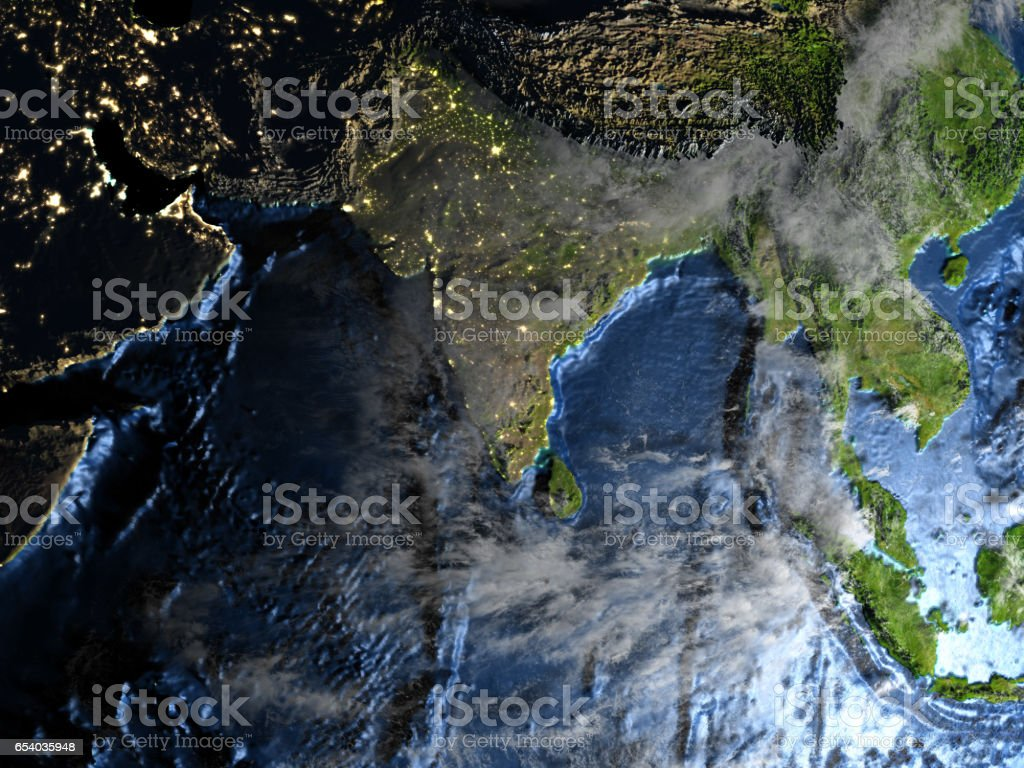Southeast Asia on Earth at night - visible ocean floor stock photo