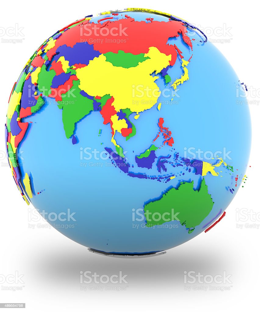 Southeast Asia on the globe stock photo
