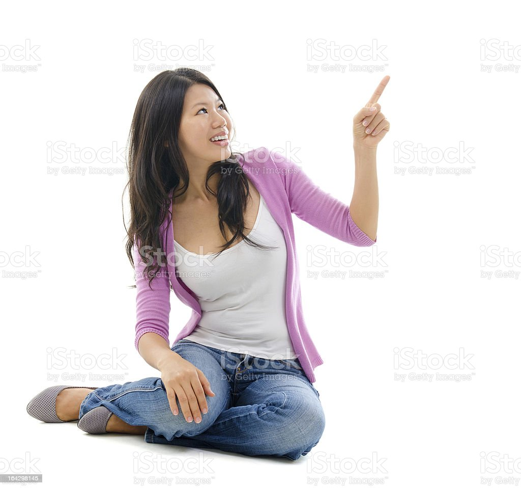 Southeast Asian Chinese woman hand pointing royalty-free stock photo