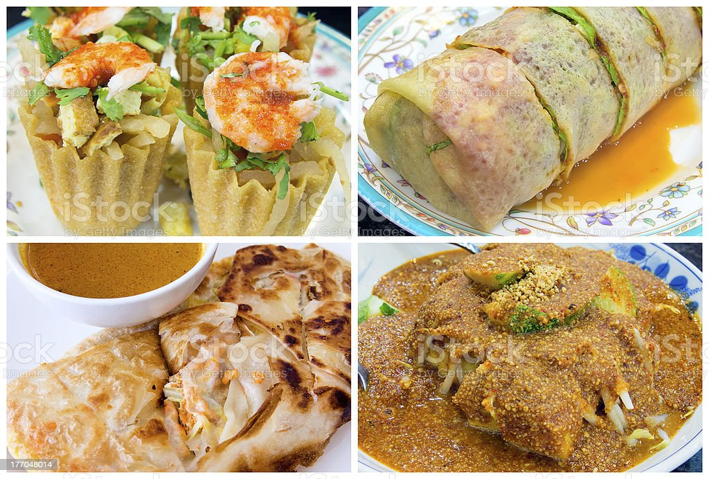 Southeast Asian Singapore Local Food Collage royalty-free stock photo