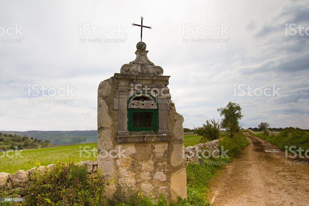 Southeast Sicily: Religious Roadside Shrine, Dirt Road, Drystone Wall stock photo