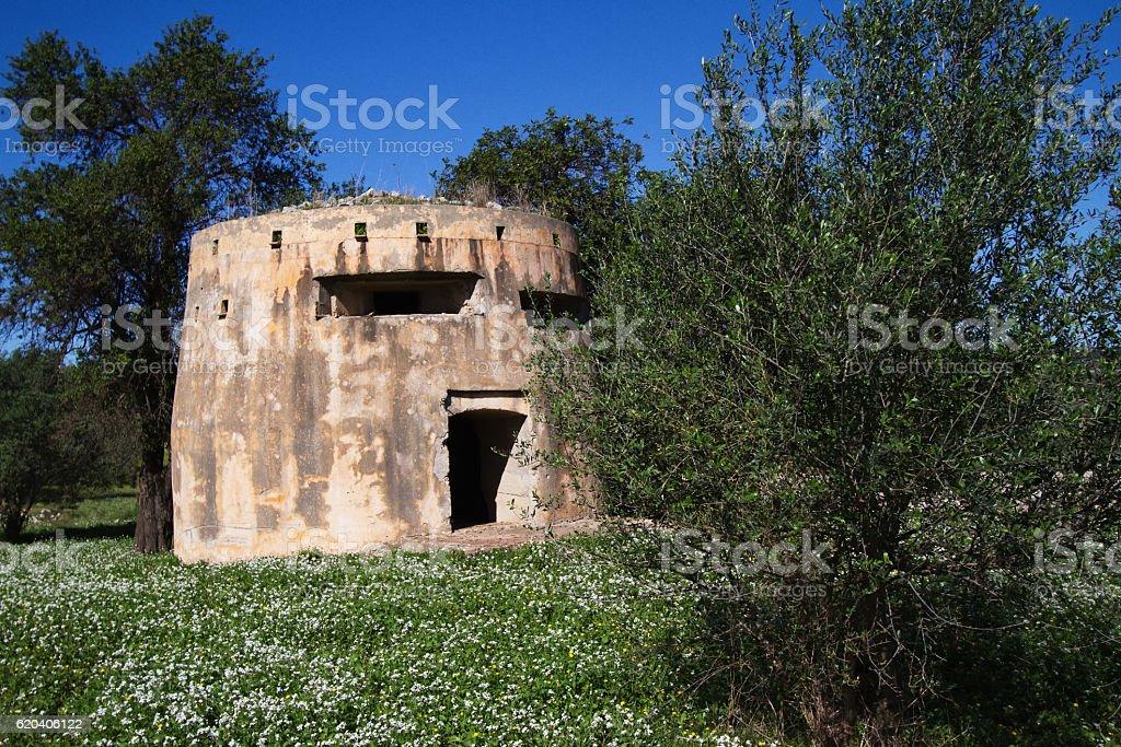 Southeast Sicily: WW II Pillbox Bunker in Flowery Field stock photo