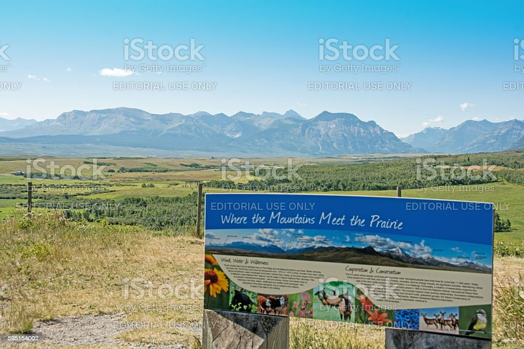 Southern Alberta foothills, range land, and Rocky Mountains View Point stock photo