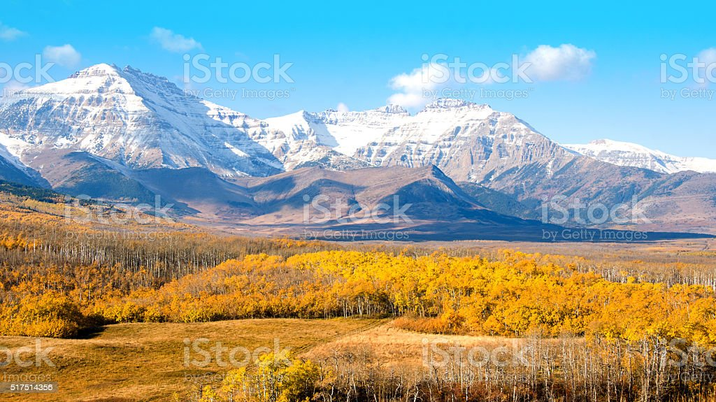 Southern Alberta prairie and foothills of the Rocky Mountains. stock photo