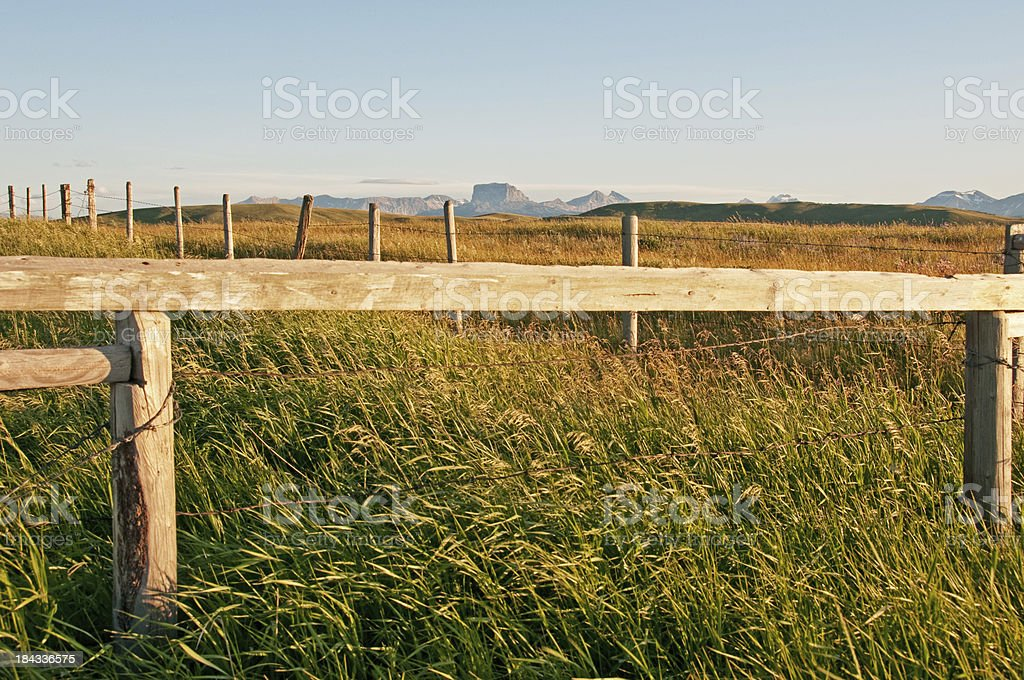 Southern Alberta ranchland and mountains stock photo