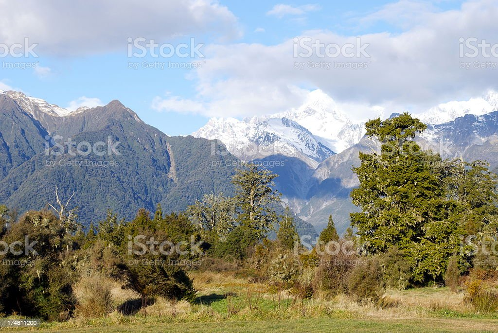 Southern Alps Mountainscape, New Zealand's West Coast royalty-free stock photo