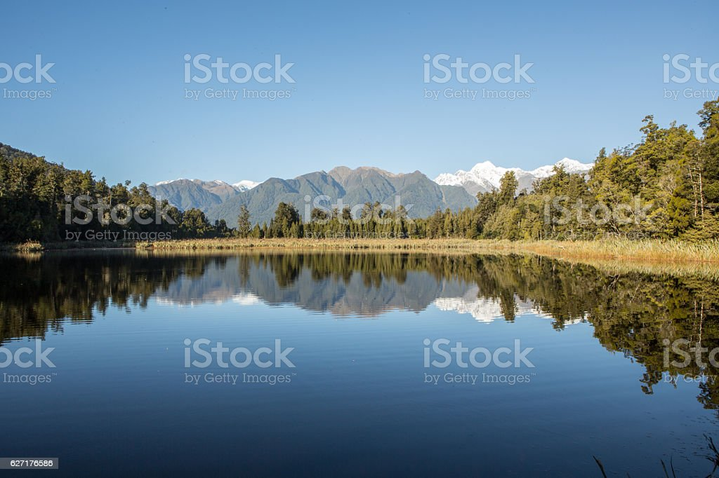 Southern Alps reflection in the mirror-like surface of the lake stock photo