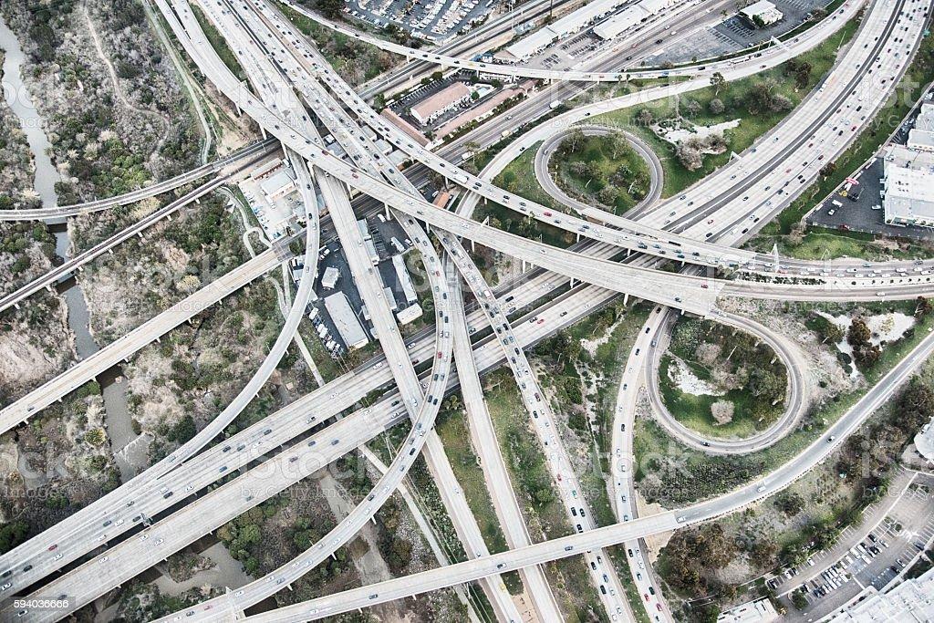 Southern California Freeway Interchange stock photo