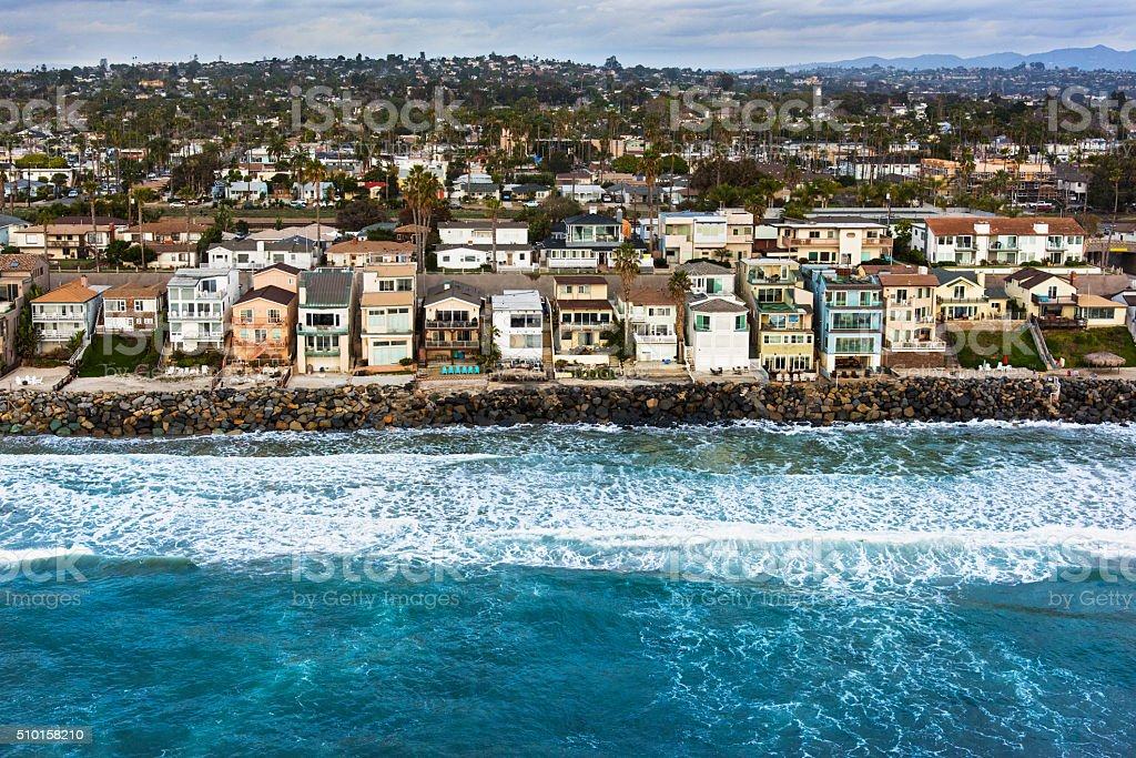 Southern California Oceanfront Neighborhood From Above stock photo
