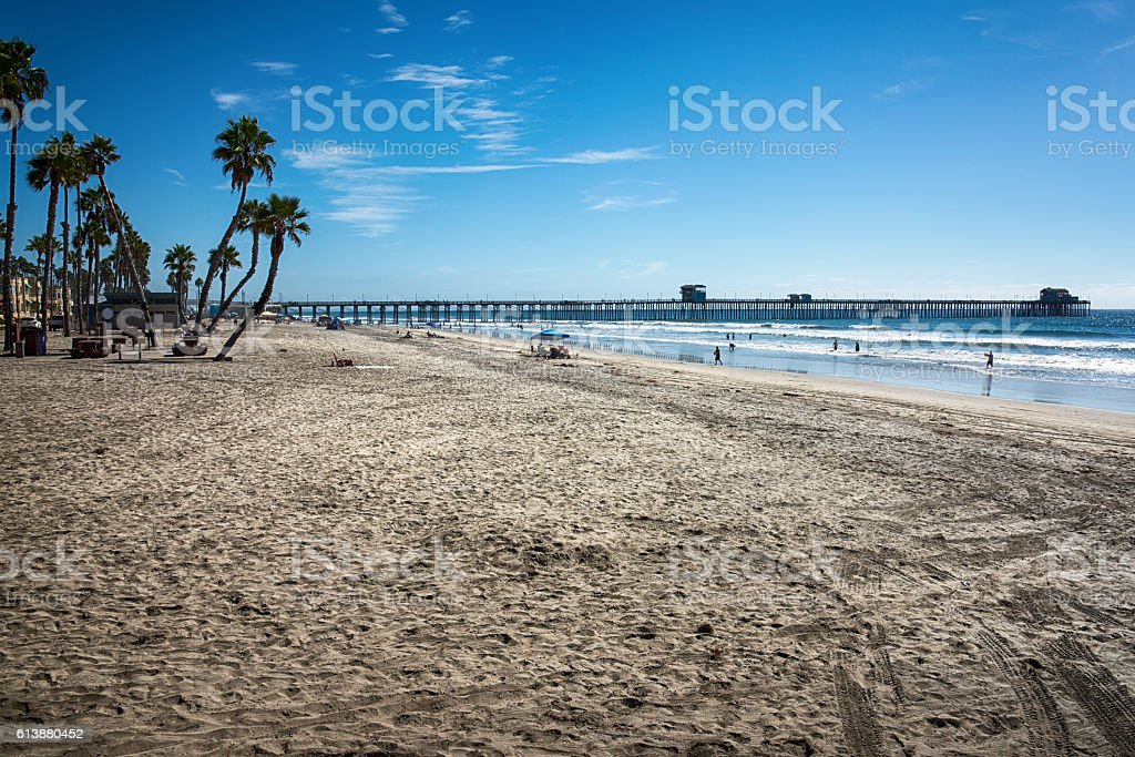 Southern California Pier on the Pacific Ocean stock photo