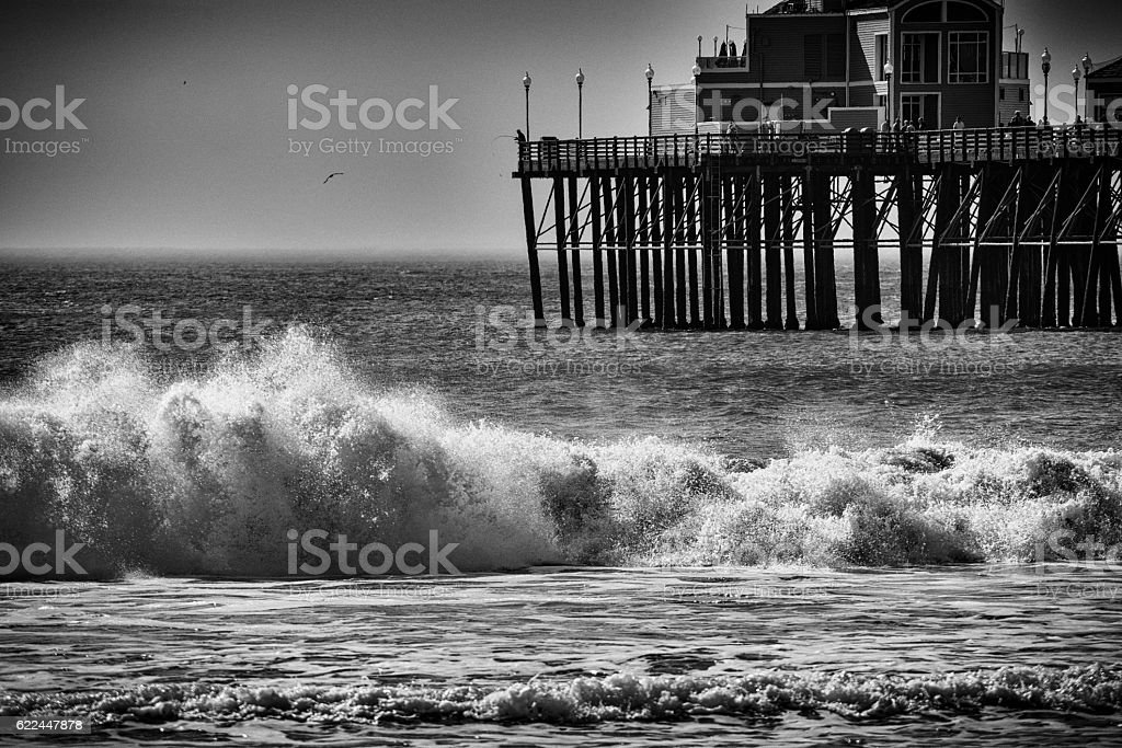 Southern California Waves and Pier stock photo