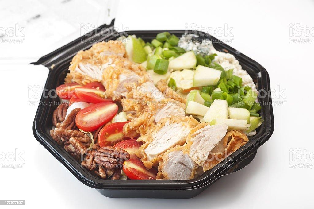 Southern Cobb Salad in black plastic bowl stock photo