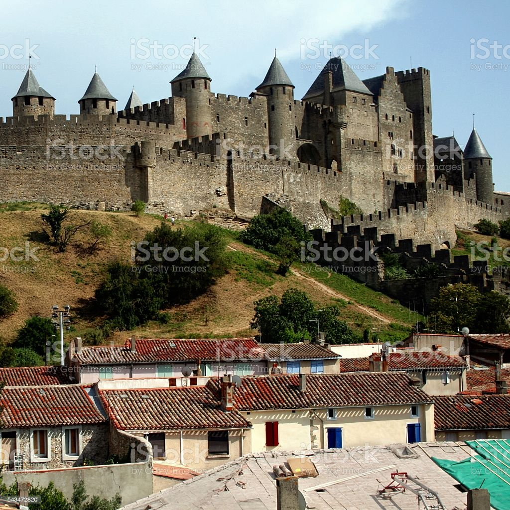 Southern France Carcassonne townscape Languedoc Roussillion medieval walled citadel stock photo