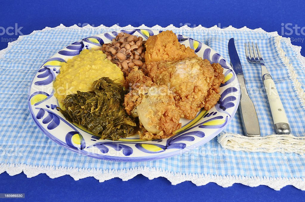 Southern Fried Chicken Dinner stock photo