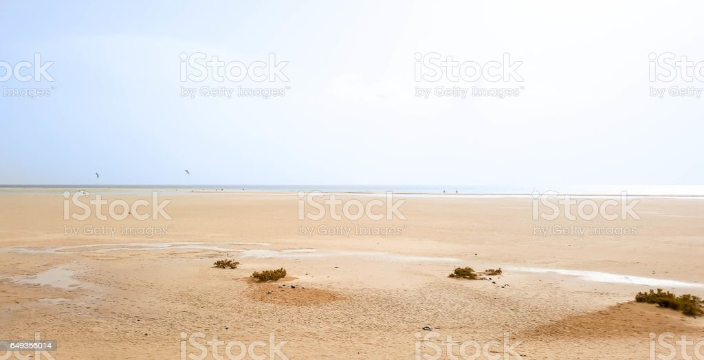 Southern Fuertevetura, Playa de Sotavento de Jandia. Sotavento Beach in Fuerteventura, Canary Islands, Spain. stock photo