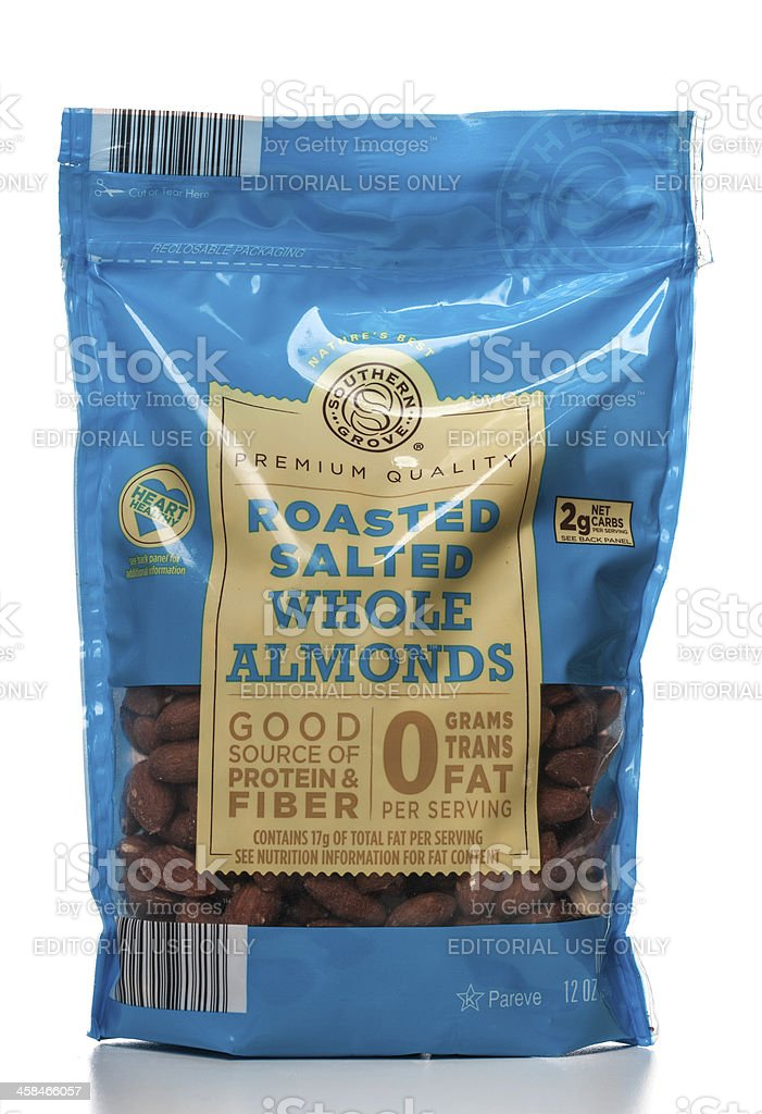 Southern Grove roasted salted whole almonds package royalty-free stock photo