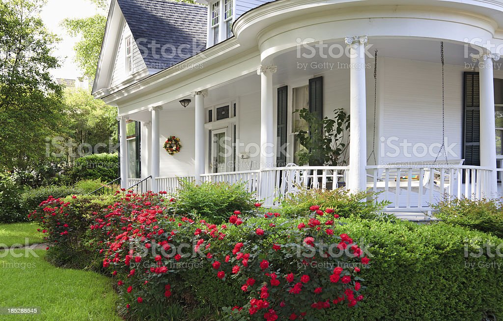 Southern Home with porch stock photo