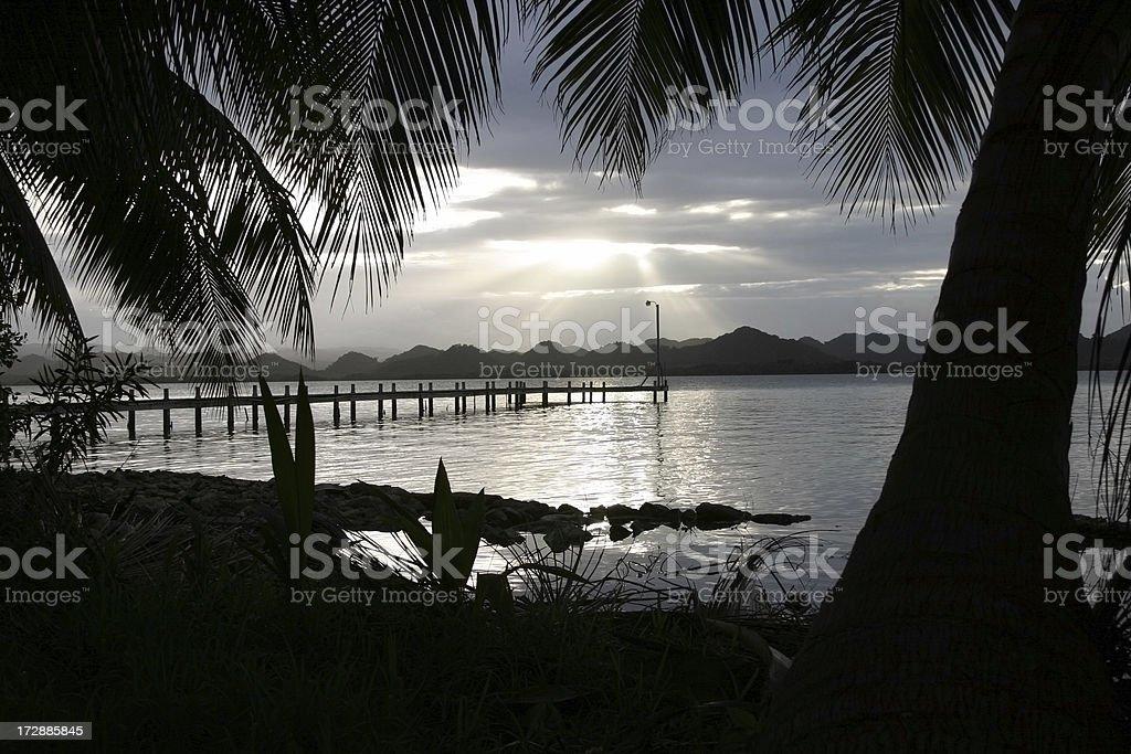 Southern Lagoon Cloud Palm Pier stock photo