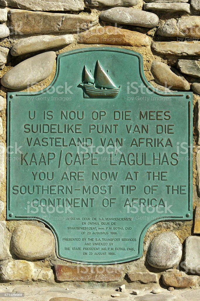 Southern most tip of Africa sign royalty-free stock photo