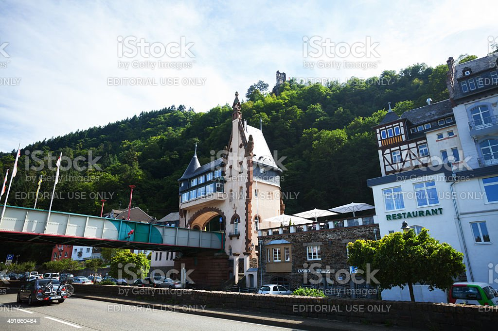 Southern part of Traben-Trabach and gate at bridge stock photo