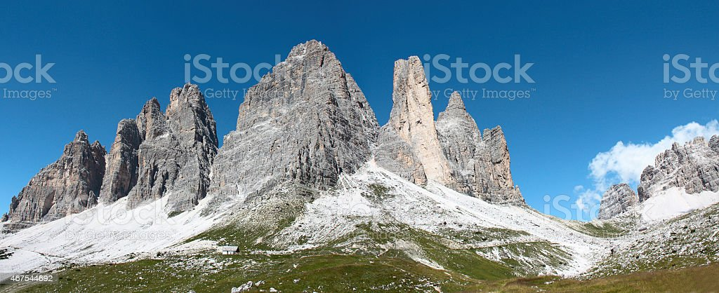 Southern side of the three Cime of Lavaredo stock photo