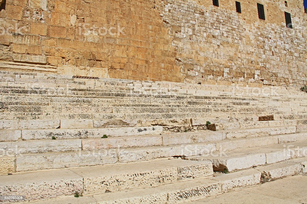 Southern Steps on the South Side of Temple Mount stock photo
