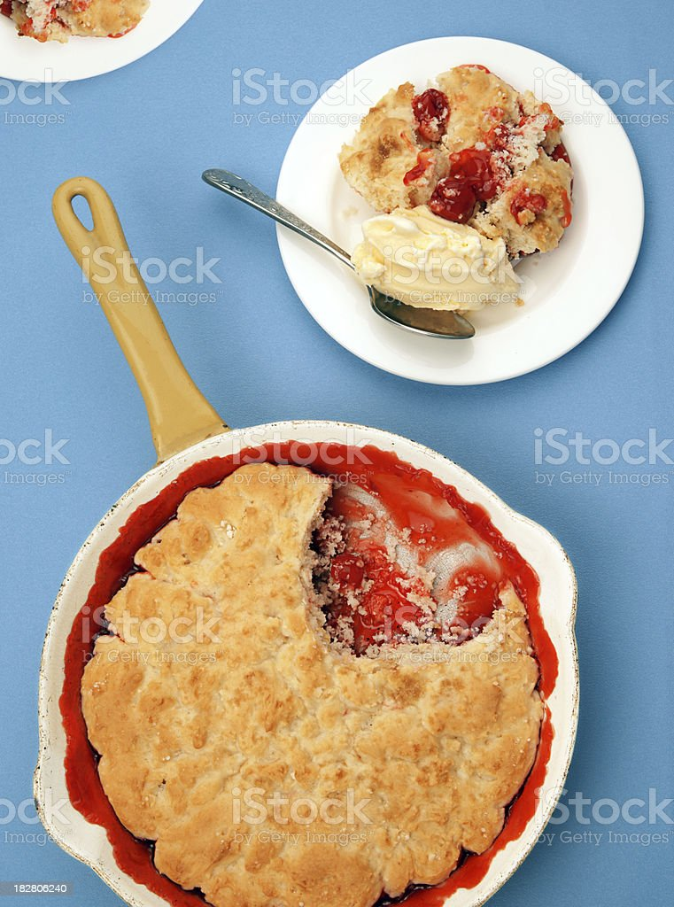 Southern Style Drop Biscuit Cherry Cobbler stock photo