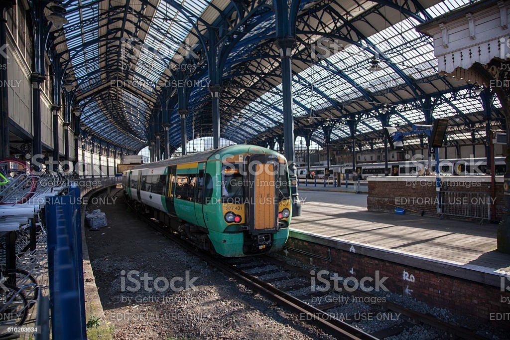 Southern train at Brighton Station stock photo