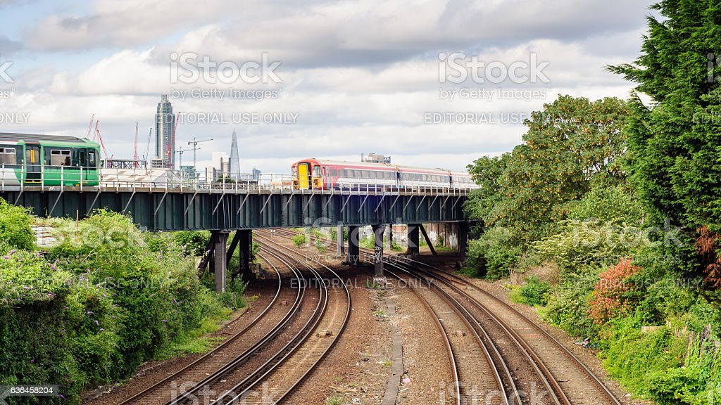 Southern Trains at Clapham Junction stock photo