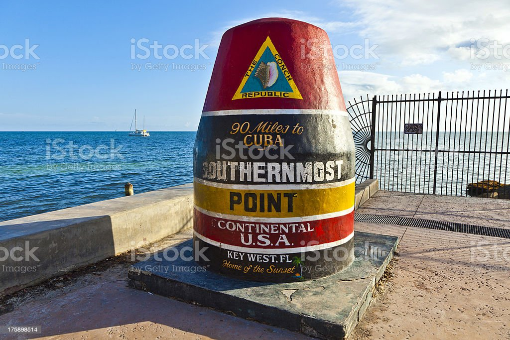 Southernmost Point marker, Key West,  USA royalty-free stock photo