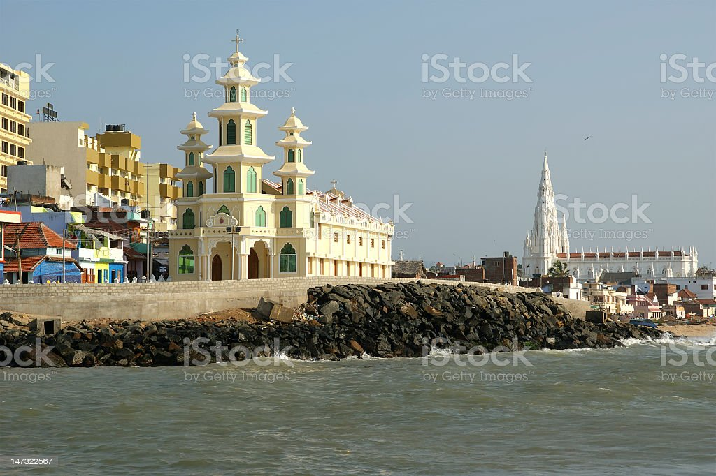 southernmost point of India. Comorin or Kanyakumari, Tamilnadu stock photo